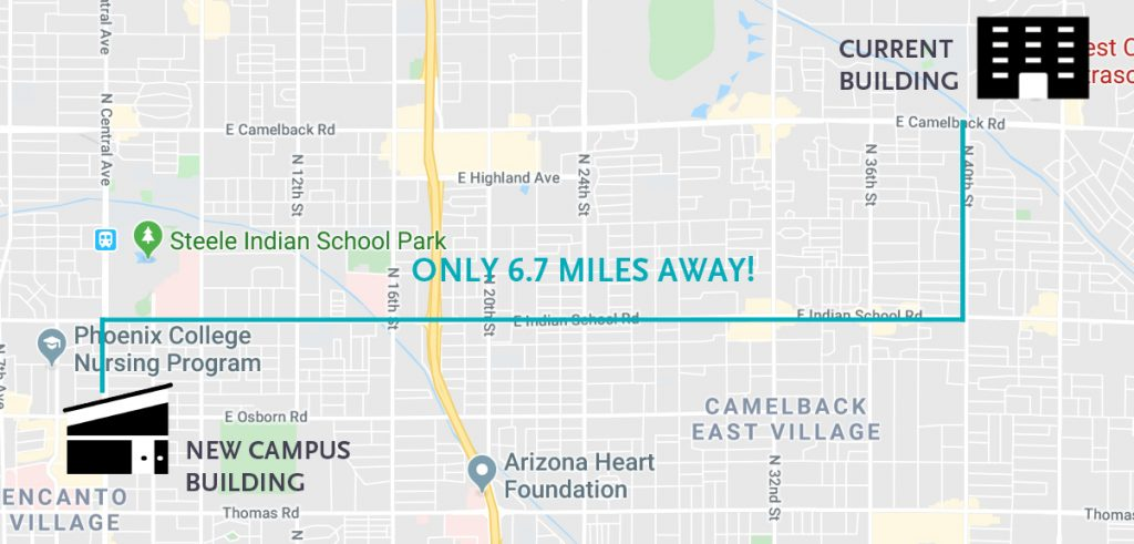 Google map showing the 6.7 mile difference between the current and new WCUI Phoenix campus