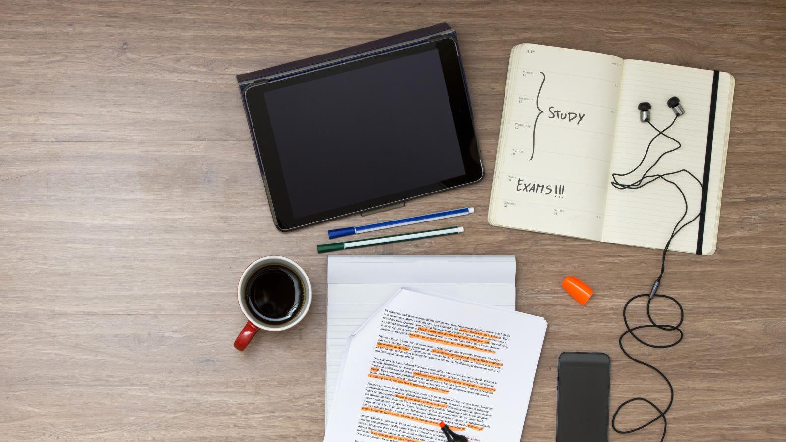 Student study workspace